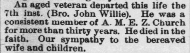 Willie, John, Obituary, 1897, Raleigh, NC Gazette