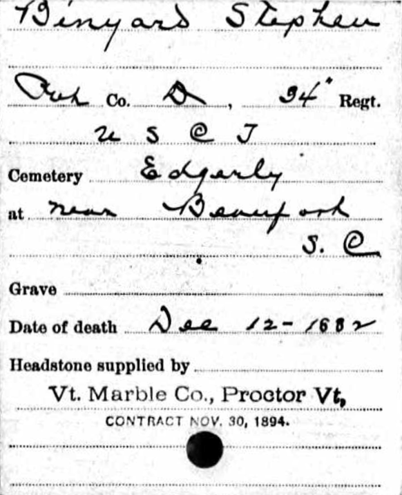 Record of Headstone Provided for USCT Veteran Stephen Binyard