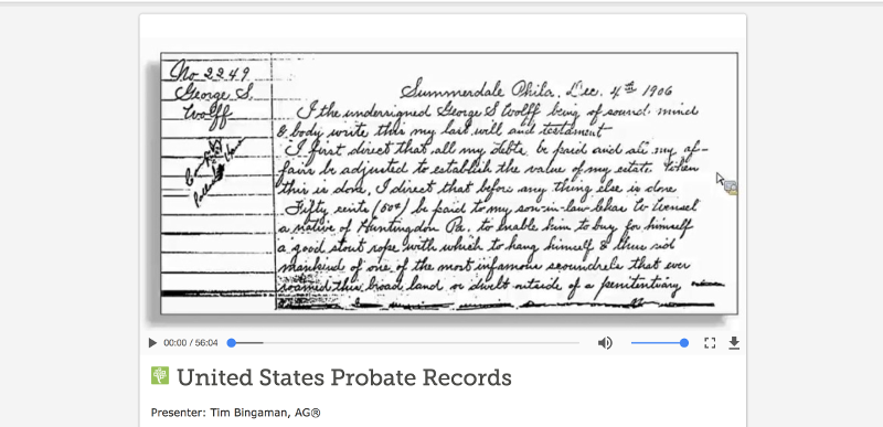 FS Probate Records Courses — FamilySearch.org