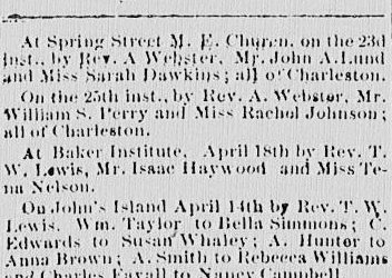 Marriages From the Charleston Advocate, April 27, 1867