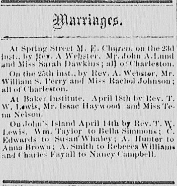 Chs Advocate Marriage Notices (Charleston, S.C.) 1867-1868, April 27, 1867, Image 3
