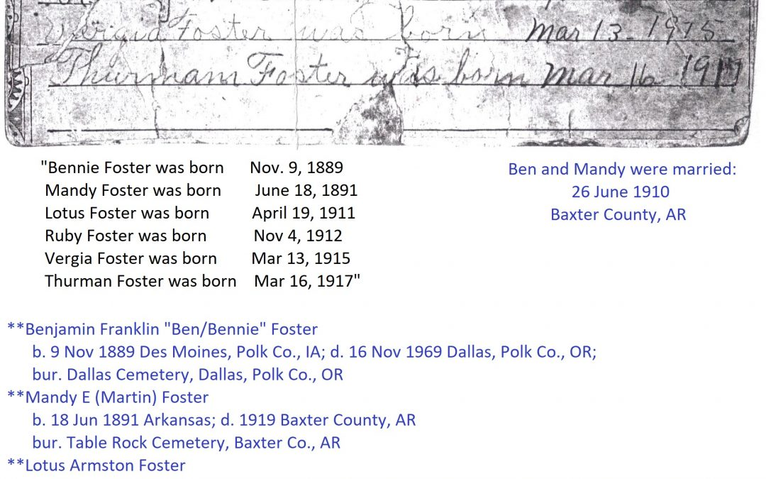 Foster-Martin Family Bible Record, Baxter County, Arkansas, Contributed by Rochelle Males
