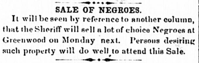 Greenwood Sheriff Sale 1860