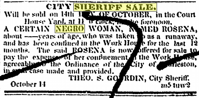 Rosena_Sheriff sale Charleston 1857