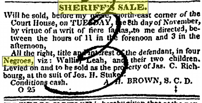 Wallis and Leah sheriff sale 1842