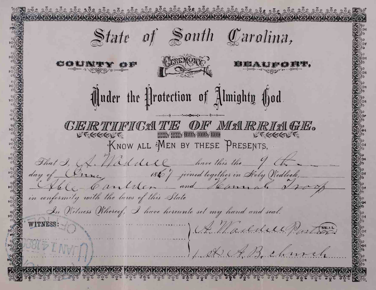 Caulder Abel Marriage Record