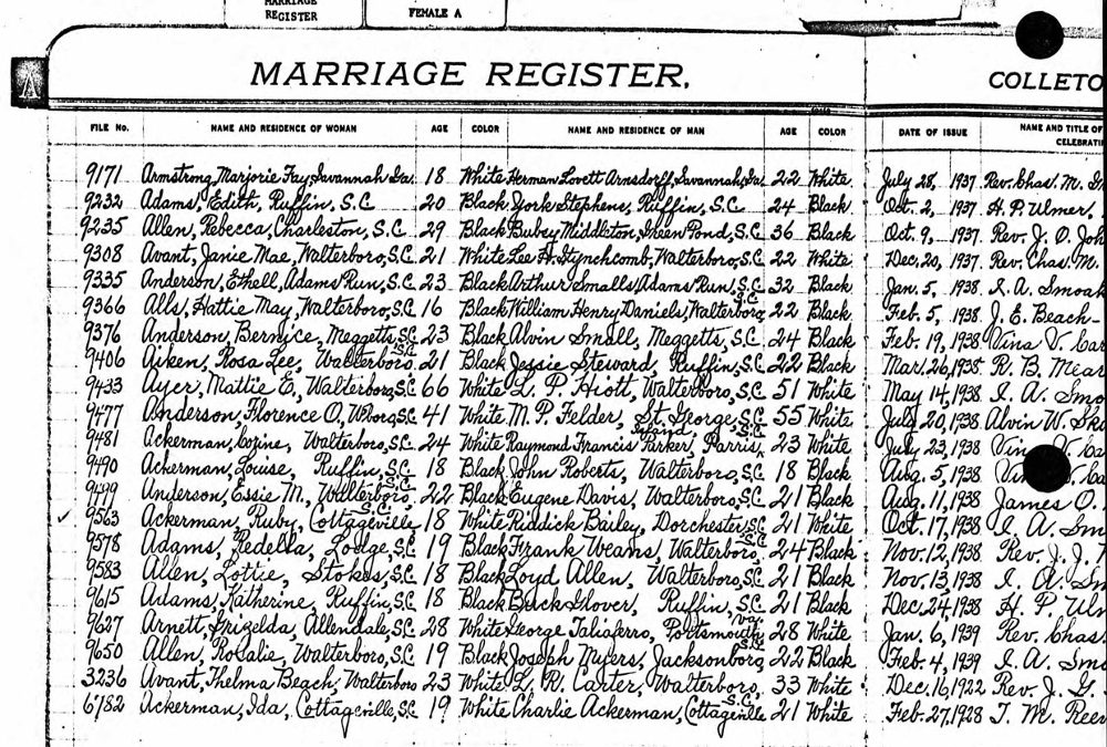 New Ancestry Collection: South Carolina, County Marriages, 1910-1990