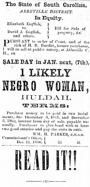 Sale of Hulda, Enslaved