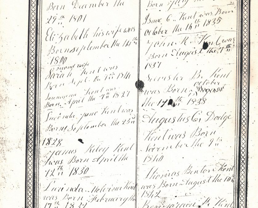 Robert Kent Family Bible, Warrenton County, MO and OR, Contributed by Rochelle (Callahan) Males