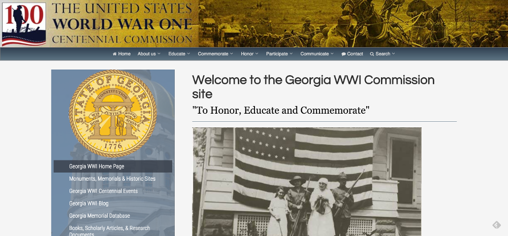 Georgia WWI Home Page World War I Centennial