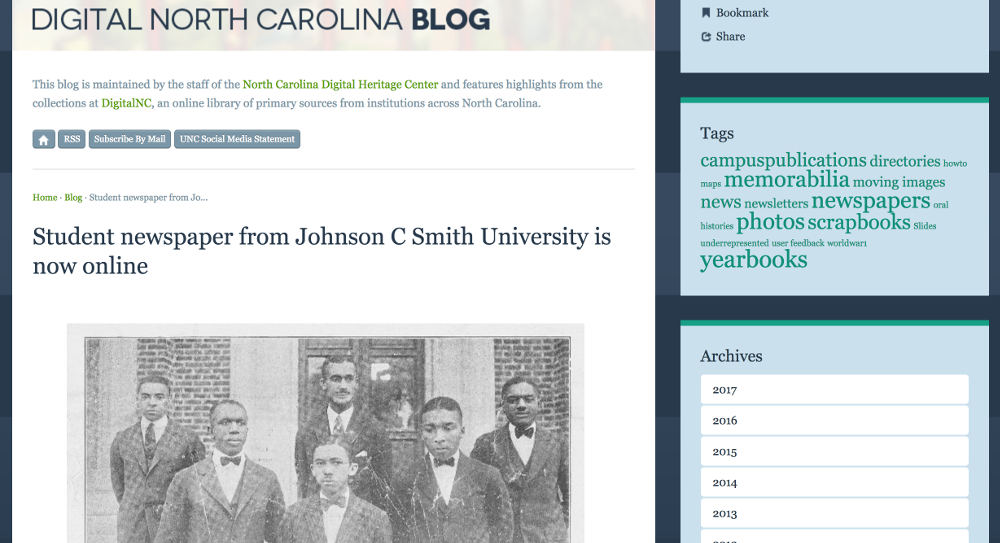 Student newspaper from Johnson C Smith University is now online · DigitalNC