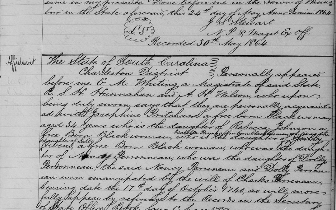 Affidavit Lists 6 Generations of Free African American Family, Charleston, SC, 1864