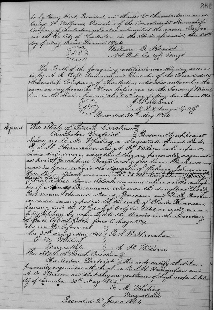 Affidavit of R.S.H. Hanahan Concerning the Freedom of Josephine Pritchard