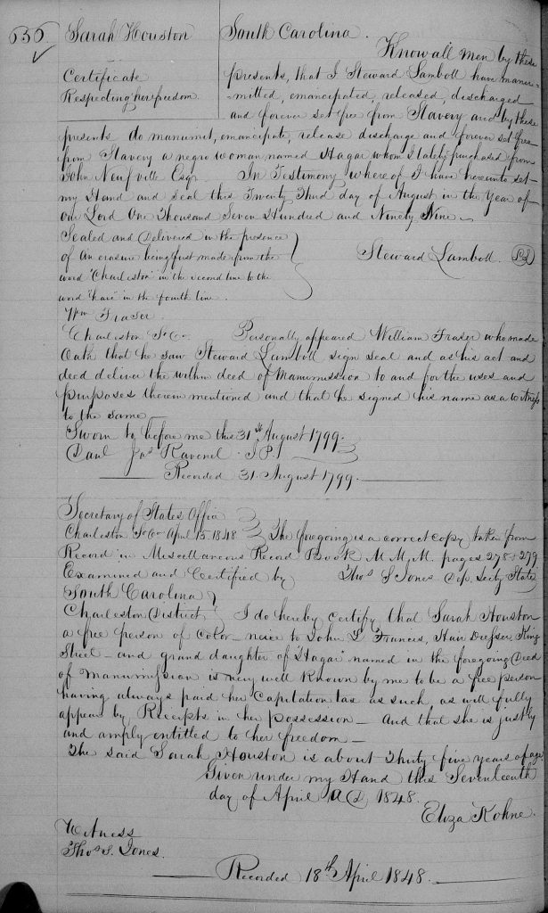 Sarah Houston Certificate of Freedom Miscellaneous records, v. 6B-6C 1844-1849 Fr 361 of 567