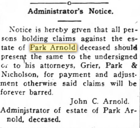 Administrators Notice for Estate of Park Arnold