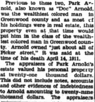 Newspaper article mentions Park Arnold