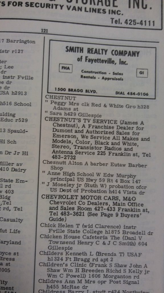 Helen Chick in 1966 Fayetteville, NC City Directory