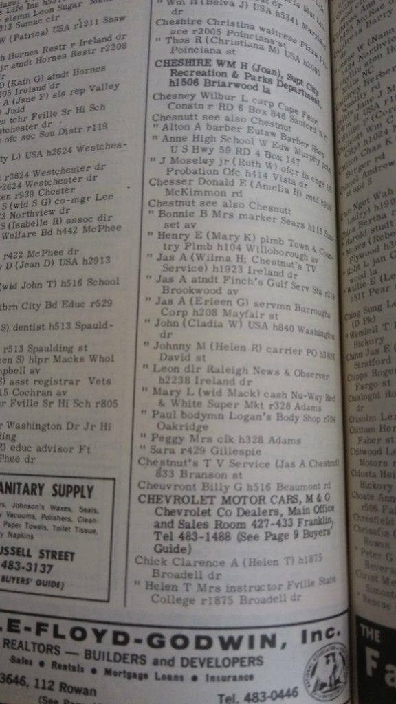 Clarence Chick City Directory