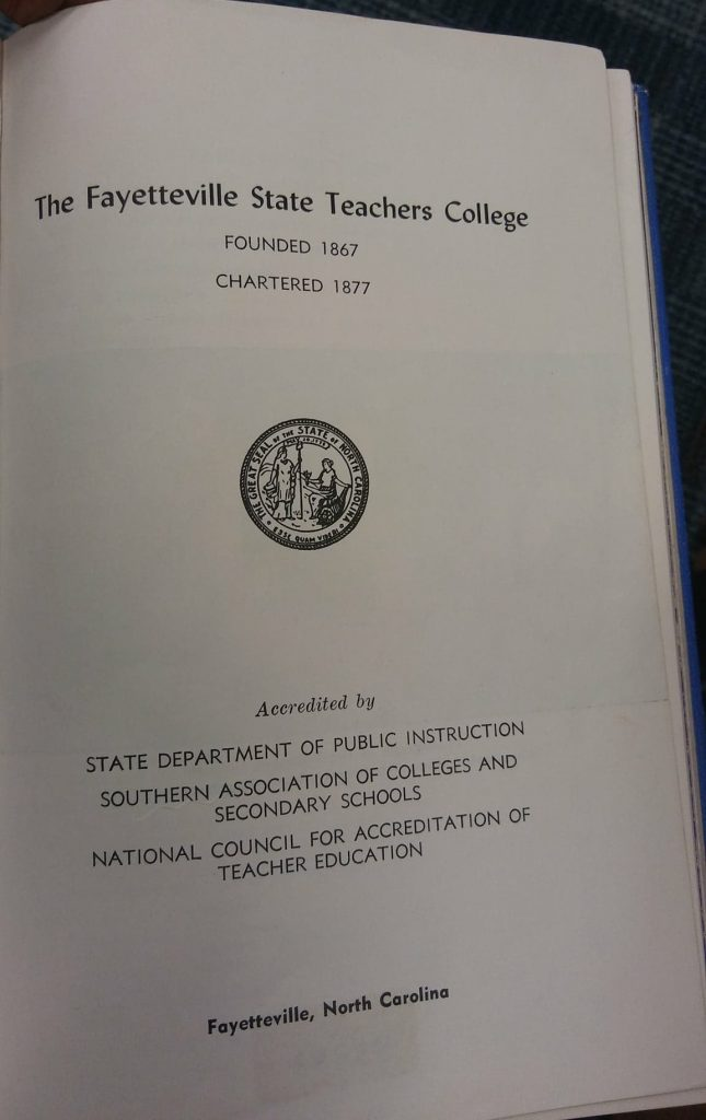 Fayetteville State Teachers College Title Page