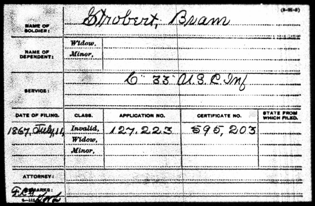 Strobert Bram Civil War Pension Index