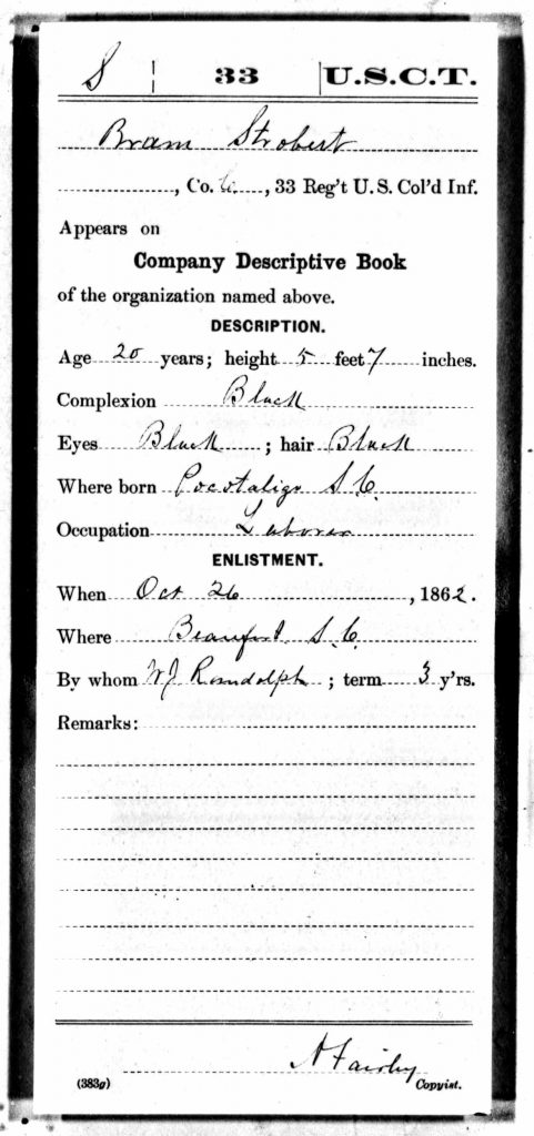 Strobert Bram Compiled Civil War Service Record