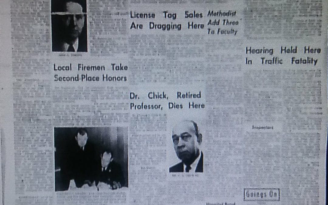 Documenting the Newspaper Obituary, Dr. Clarence Adam Chick (1896-1966)