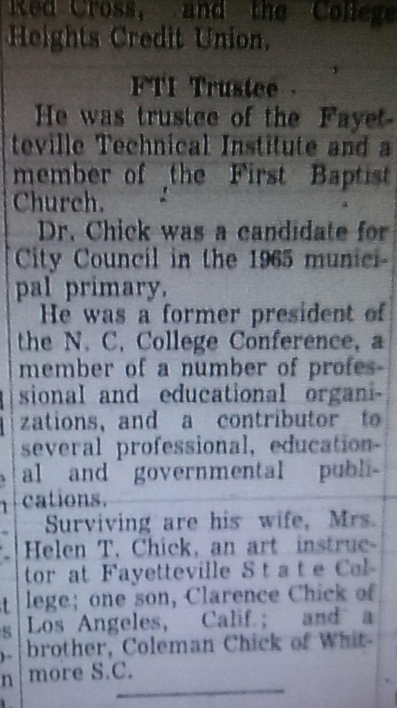 "1966, January 19, ""Dr. Chick, Retired Professor, Dies Here,"" The Fayetteville Observer"