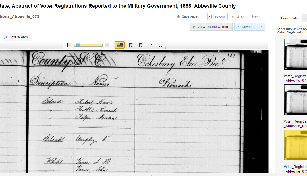 Look for Your Ancestor in South Carolina Voting Records