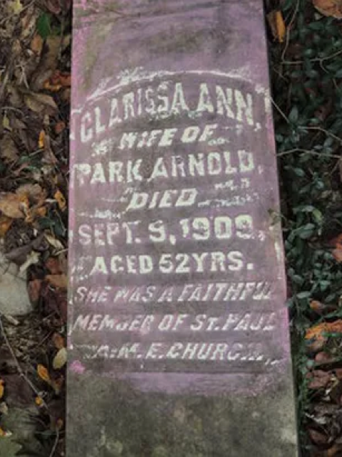 Clarissa Arnold headstone, Save All Cemetery.  Photo Taken by Jim Ravencraft, April 2012.