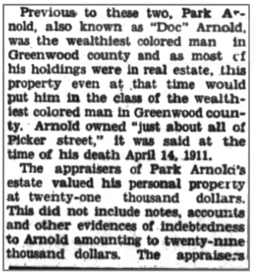 Park Arnold Newspaper Clipping