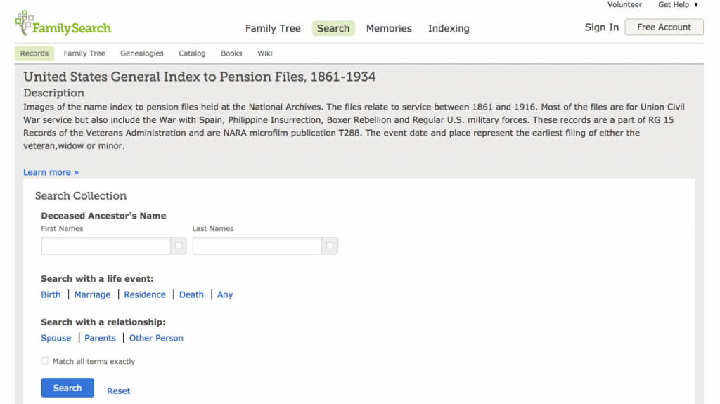 United States General Index to Pension Files 1861 1934 — FamilySearch org