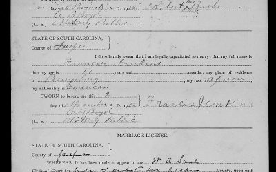 Found on FamilySearch: Jasper County, South Carolina Marriage Licenses, ca. 1912-1950