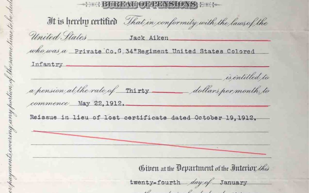 Aiken, Jack. USCT Pension File Abstract, Company G, 34th USCT, Green Pond, Colleton County, SC