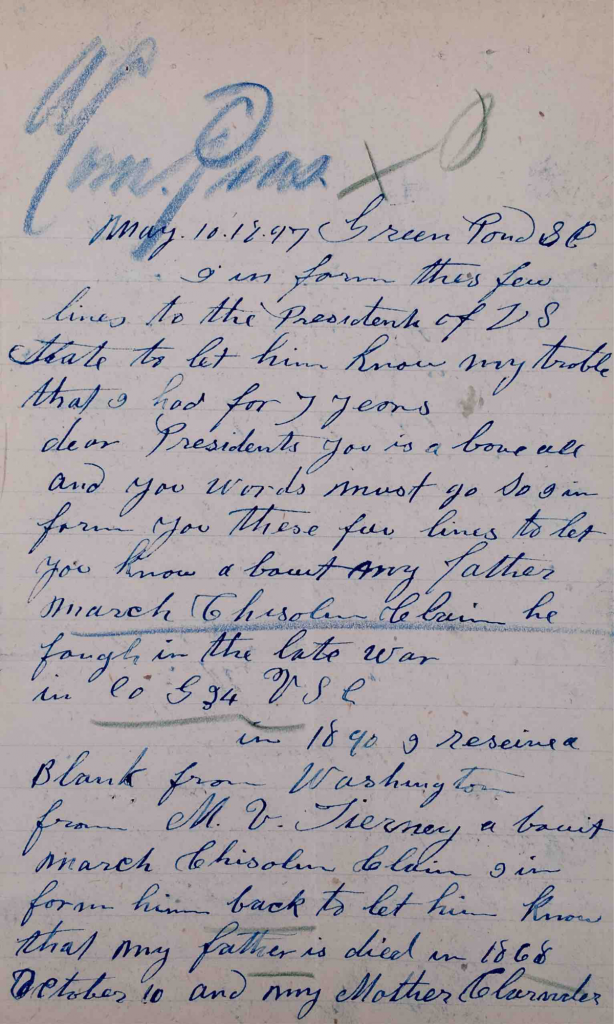 Letter, Molcey Chisolm to President of the United States, Pension File of March Chisolm, Pension Application #513495