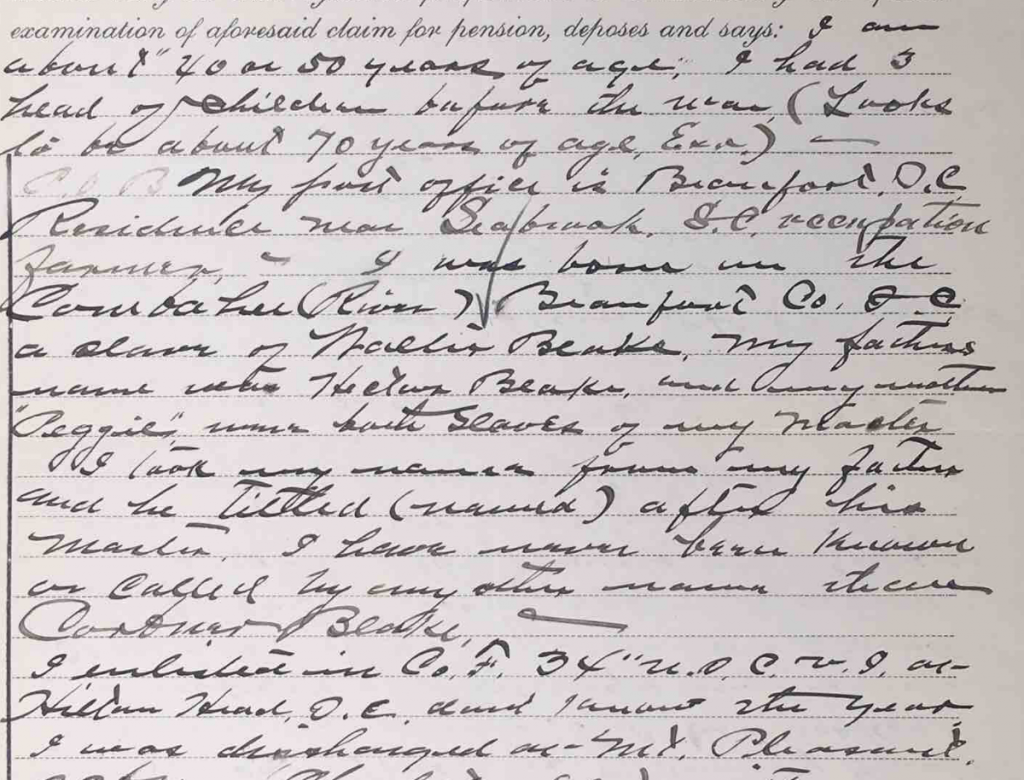 Detail from Statement of Corbner Blake, Civil War Pension File of Corbner Blake, Co. F, 34th USCT, Certificate #608908