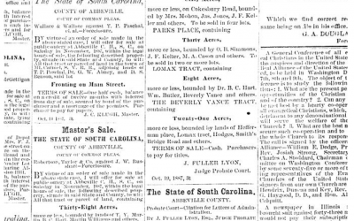 Chronicling America Has Newspapers from Abbeville and Yorkville 1880-1887 Which Document My Great-Great Grandfather