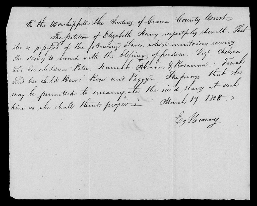 Sample Image, Civil Actions Concerning Slaves and Free Persons of Color, Craven County, NC, 1775-1885