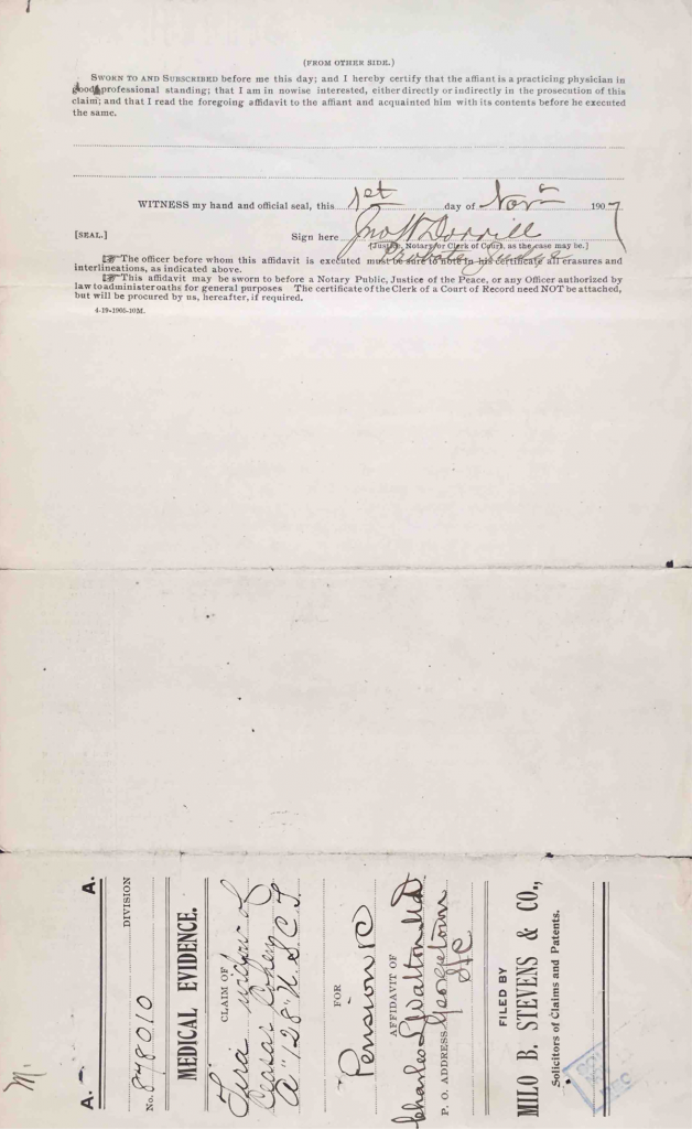 Statement of Tira Cohen, Pension File of Caesar Cohen, Page 45, 1 Nov 1907, Invalid Pension Application #1119283; Widow's Pension Application #878010