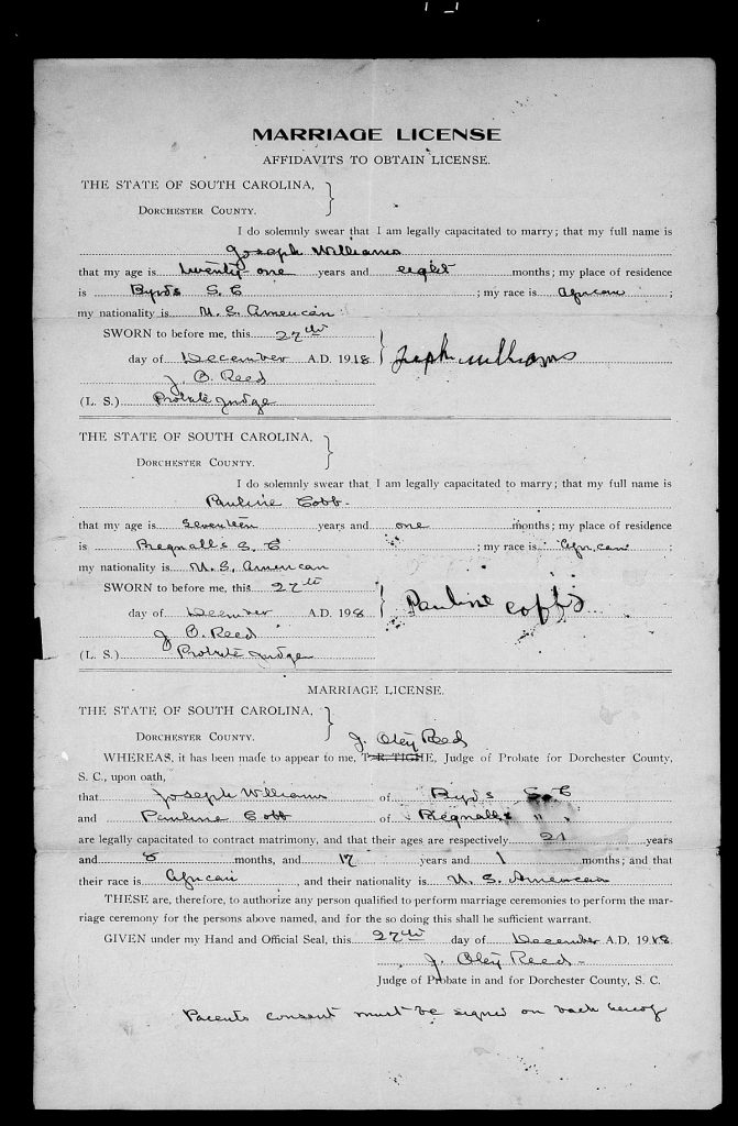 Dorchester County, South Carolina Marriage Licenses, ca. 1918-1950