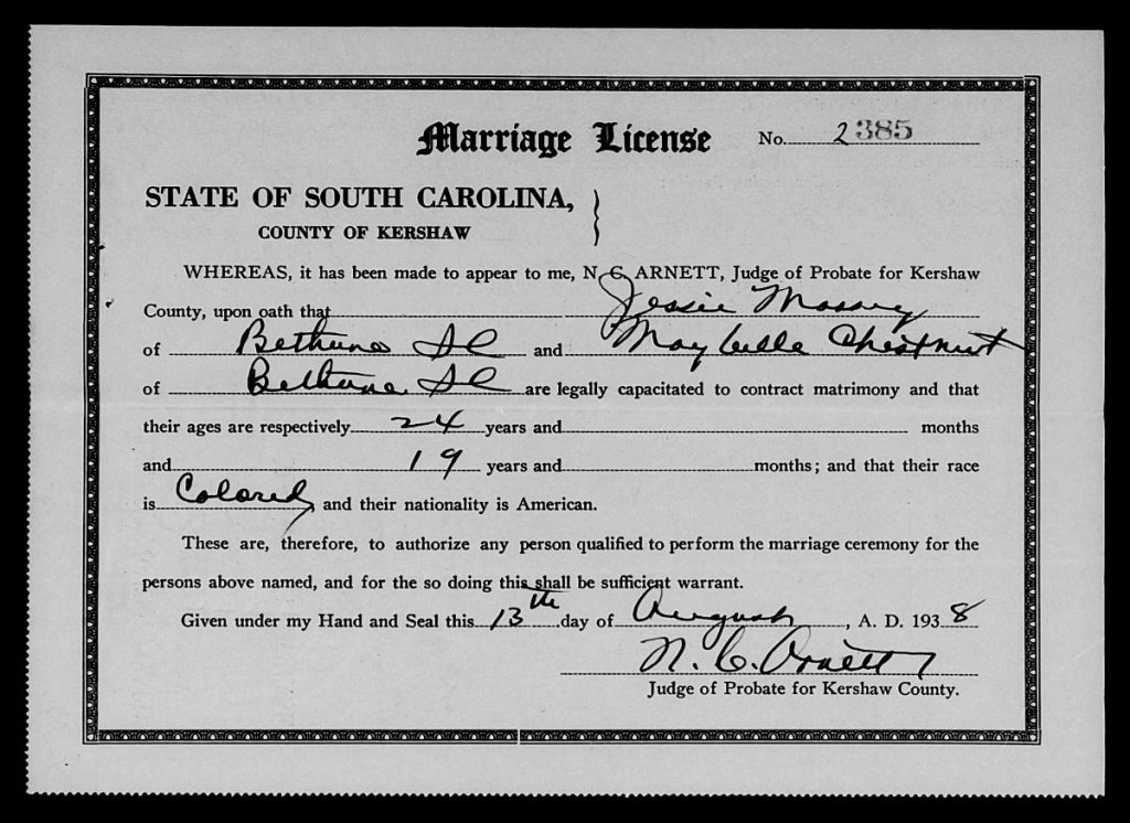 Kershaw County, South Carolina Marriage Licenses, Aug. 1938-Dec. 1950