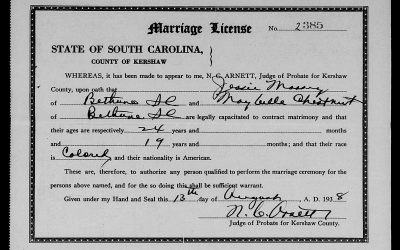 Found on FamilySearch: Kershaw County, South Carolina Marriage Licenses, Aug. 1938-Dec. 1950
