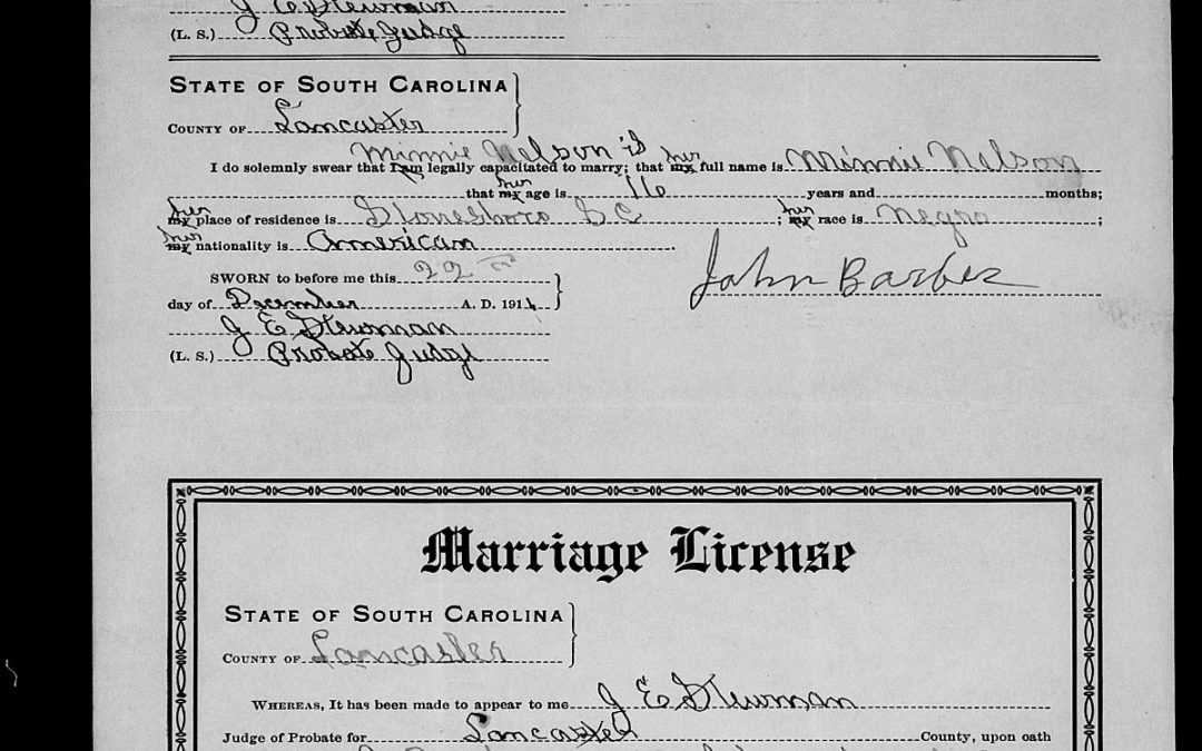 Found on FamilySearch: Lancaster County, South Carolina Marriage Licenses, 1911-1950