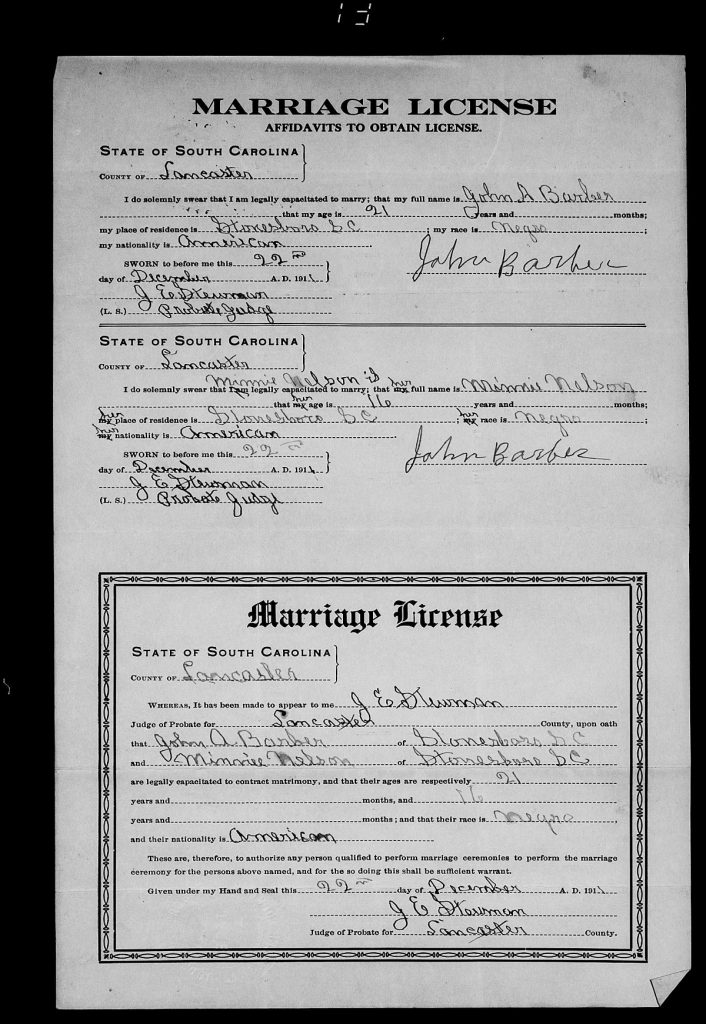 Lancaster County, South Carolina Marriage Licenses, 1911-1950