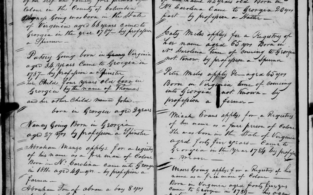 Found on FamilySearch: Register of Free Persons of Color, Columbia County, GA, 1819-1836