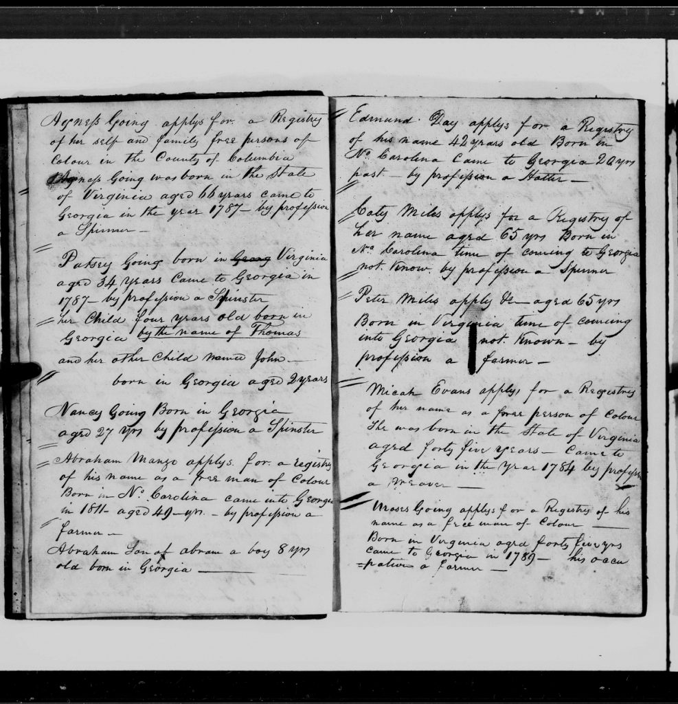 Register of Free Person of Color, Columbia County, GA, 1819-1836