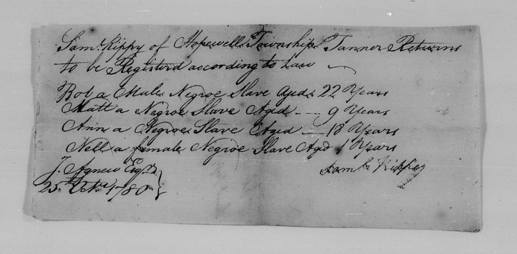 Cumberland County, PA, Negro Slaves Name & Age Returns, 1780, 1791, 1828