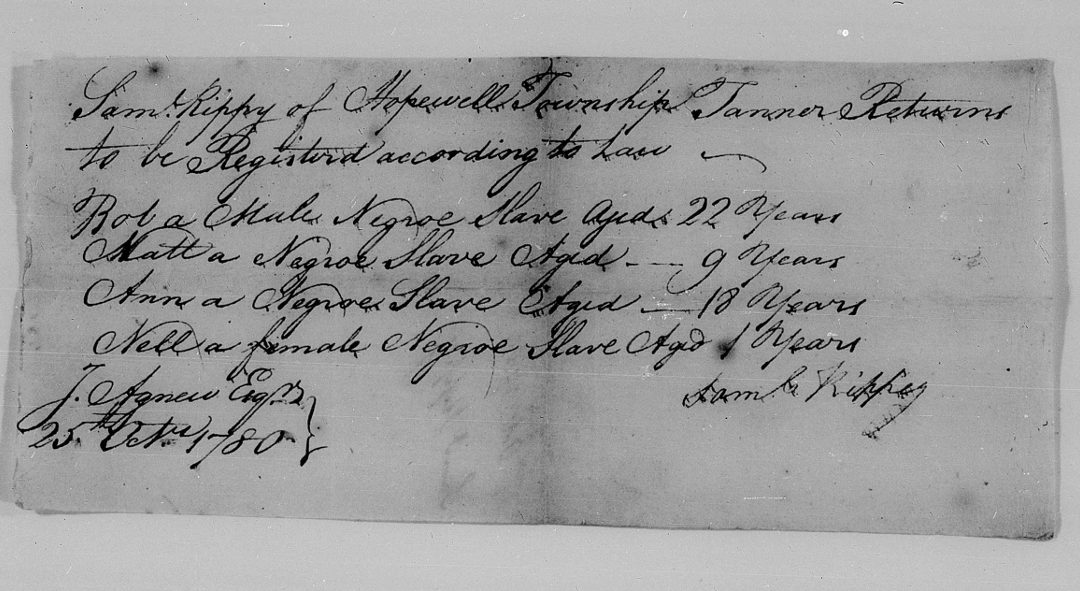 Found on FamilySearch: Cumberland County, PA, Negro Slaves Name & Age Returns, 1780, 1791, 1828