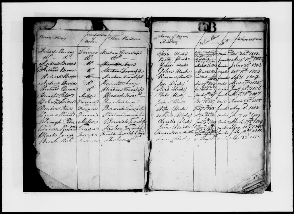 Register of Negroes and Mulattoes, 1800-1820, Adams County, PA