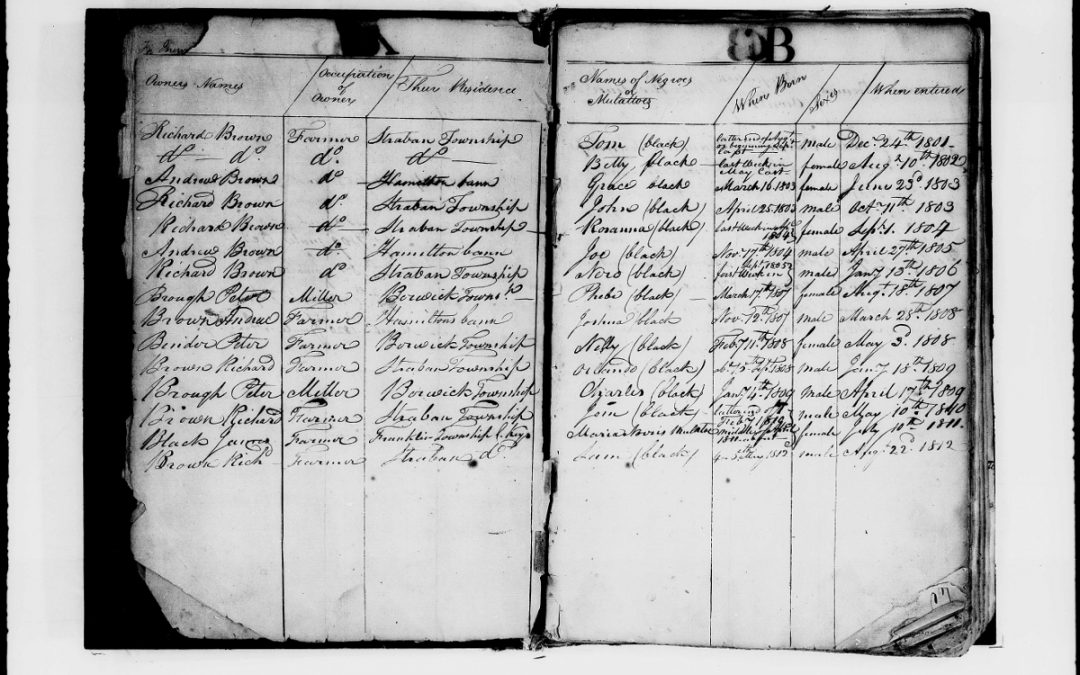Found on FamilySearch: Register of Negroes and Mulattoes, 1800-1820, Adams County, PA