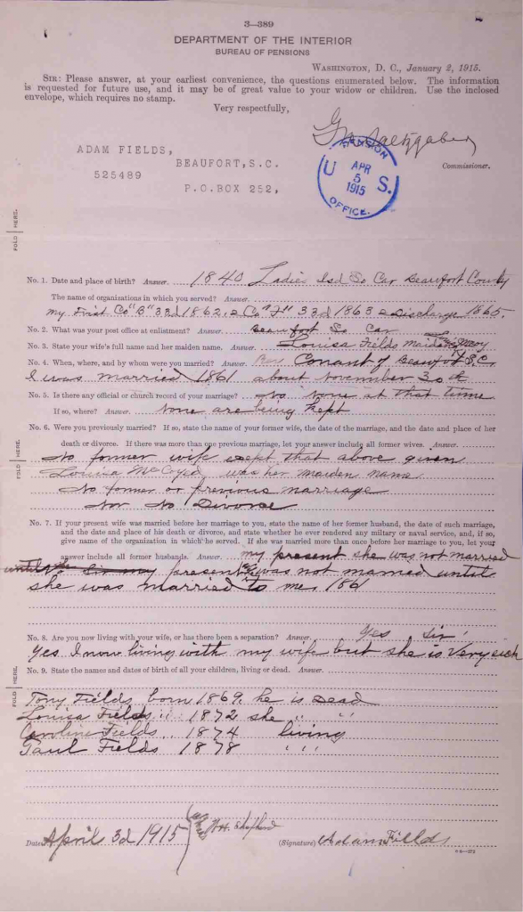 Pension File of Adam Fields, Company F, 33rd USCT, Certificate number 525489.